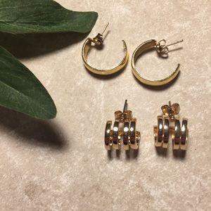 Jewelry - Bundle 2 gold tone hoop earrings